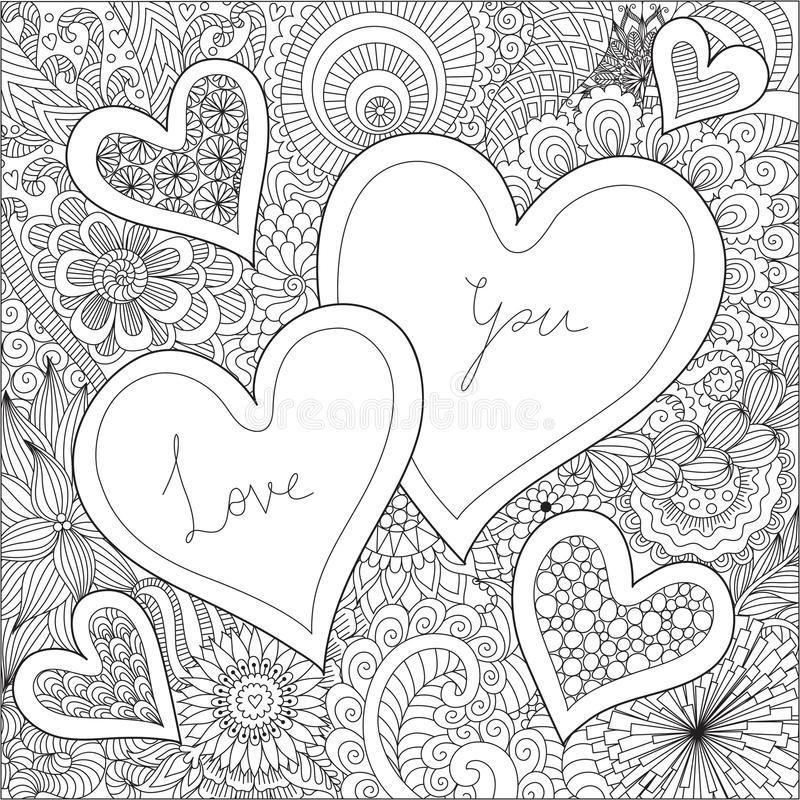 Two Hearts on flowers for coloring books for adult or valentines card vector illustration