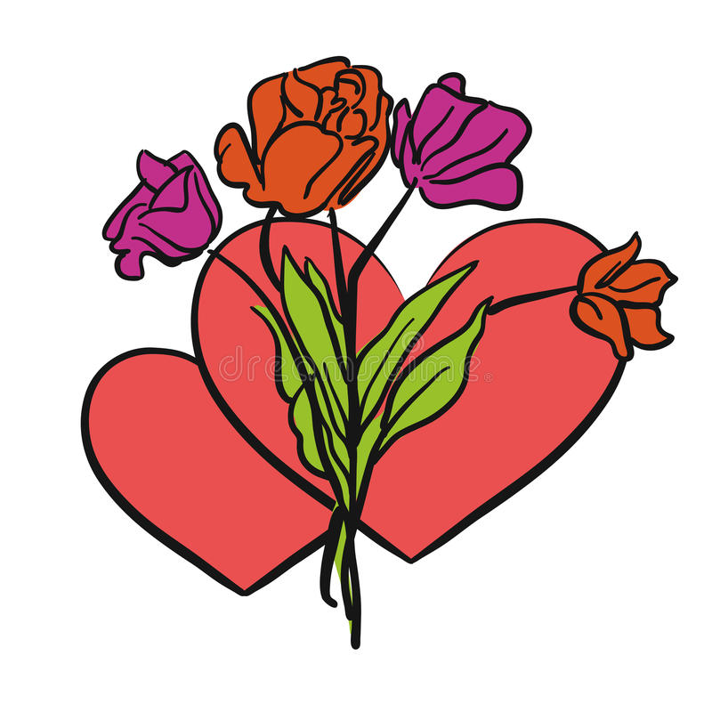Two hearts and flowers vector illustration