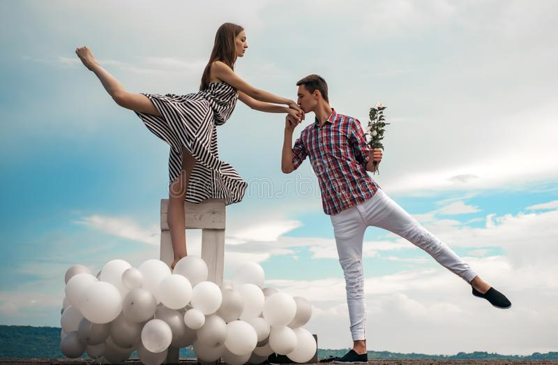 Two hearts full of love. Romantic relations between ballerina and ballet partner. Ballet couple into love relations. Couple in love. Ballet dancers falling in stock photos