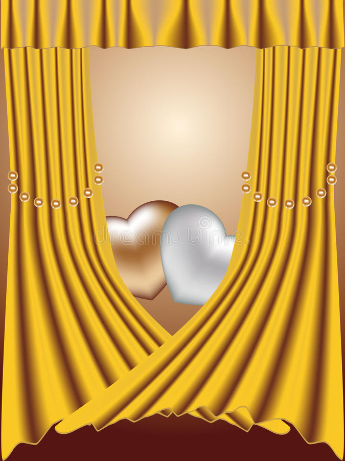 Download Two Hearts On A Gold Background With Pearls Royalty Free Stock Images - Image: 12658879