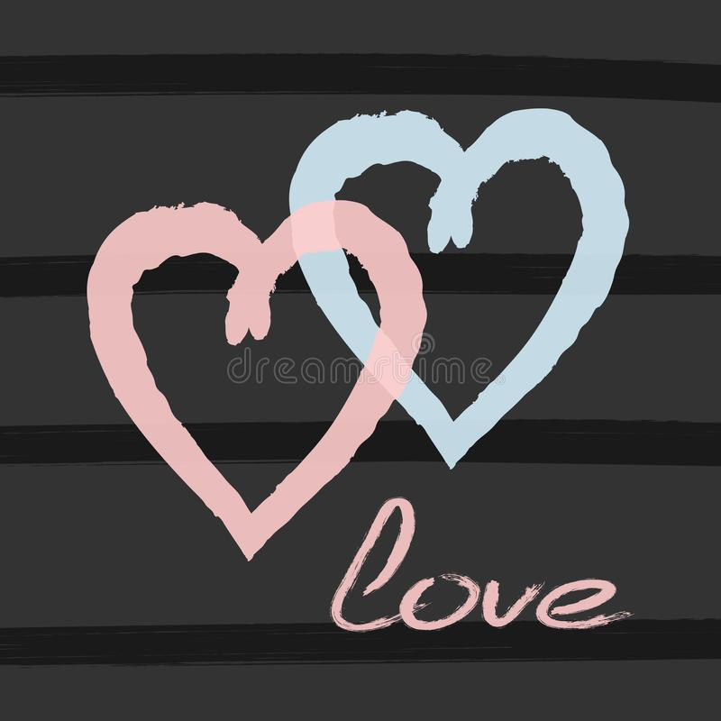 Two hearts and handwritten text Love on striped background drawn by hand with watercolour brush. Romantic print, poster, card. Sketch, watercolor, paint stock illustration