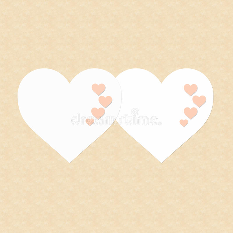 Two hearts Happy Valentine's Day stock photos