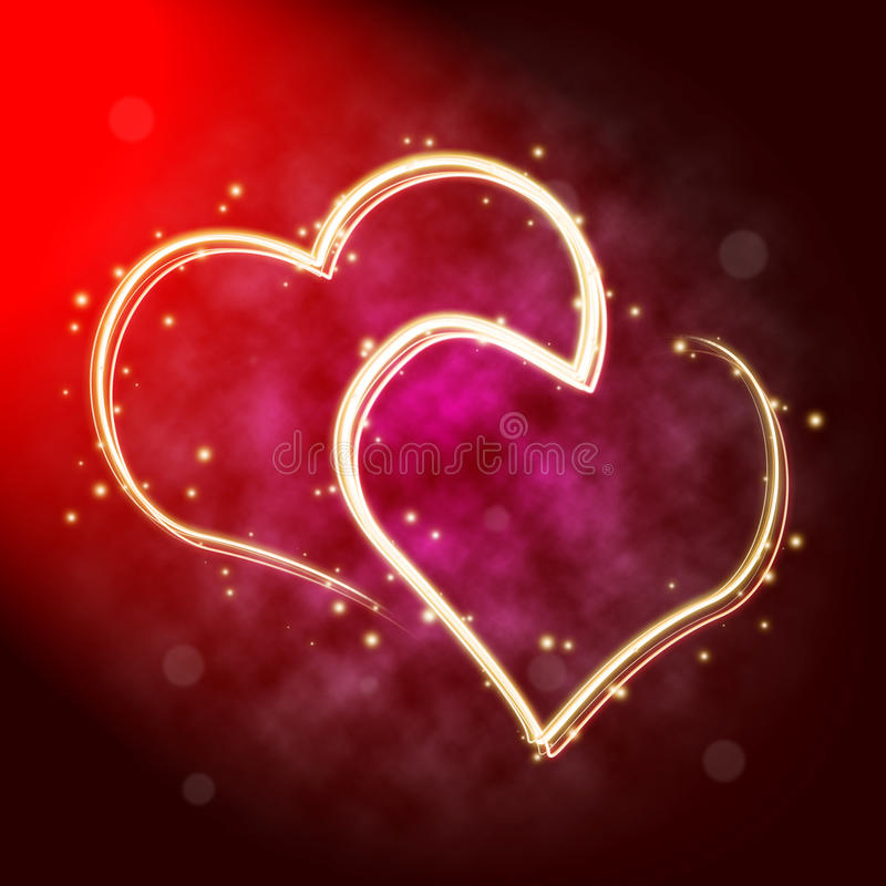 Two hearts in lights vector illustration