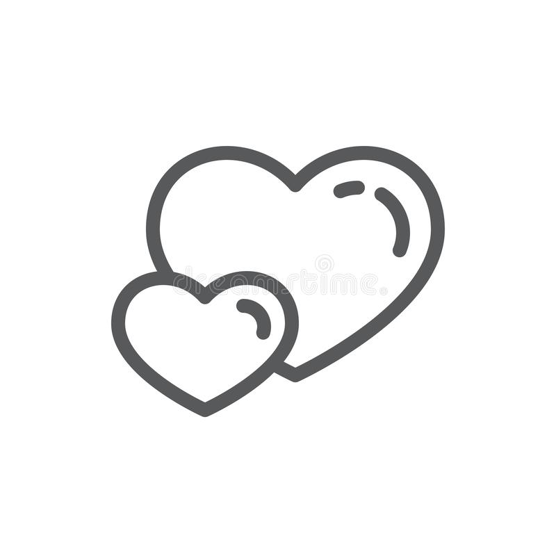 Two hearts line icon with editable stroke - outline romantic symbol of couple of heart shapes in vector illustration for. Valentines Day or love concept stock illustration