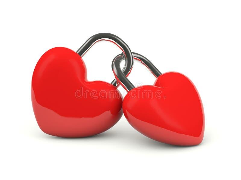Two hearts locked together stock illustration. Illustration of ...