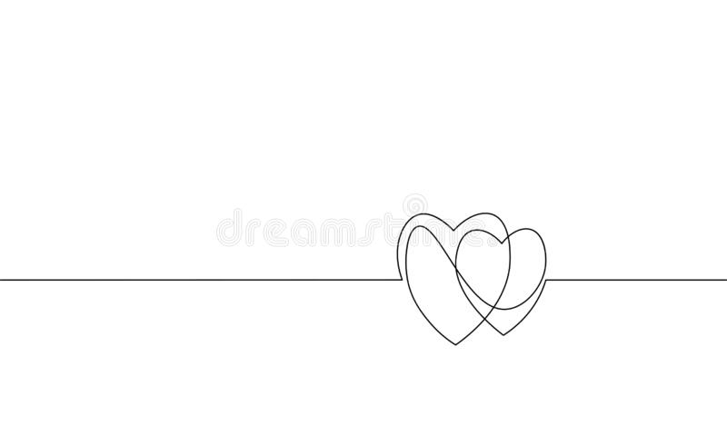 Two hearts love romantic single continuous line art. Heartbeat passion date relationship couple silhouette concept. Design one sketch outline drawing white stock illustration