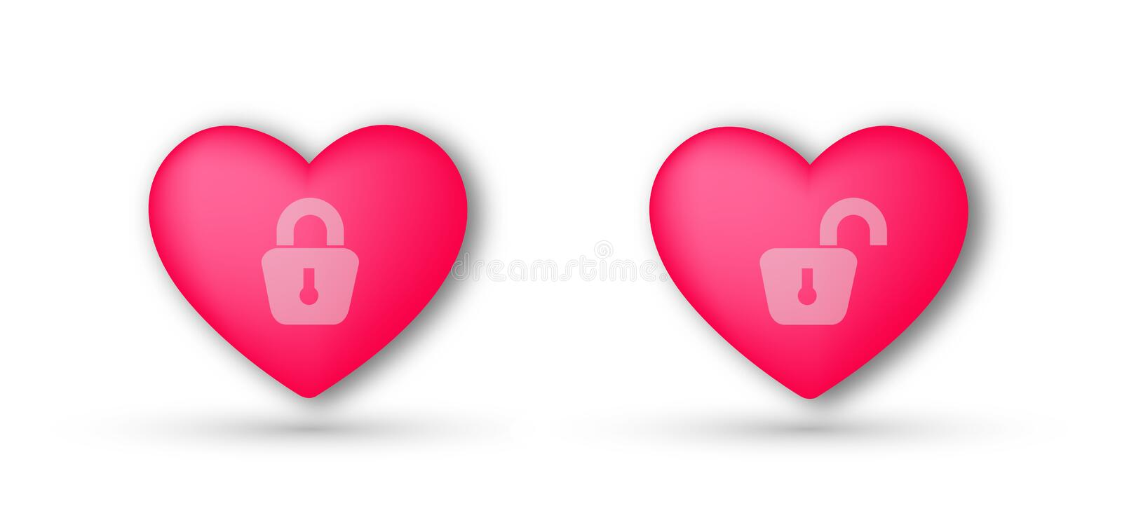 Two Hearts love single, married concept abstract vector on white background vector illustration