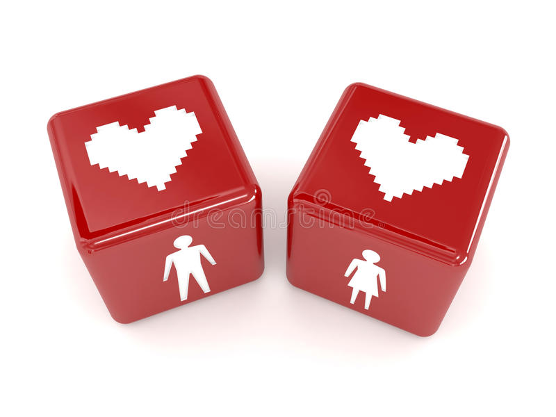 Download Two Hearts, Male And Female Figures On Dices. Stock Illustration - Image: 29074488