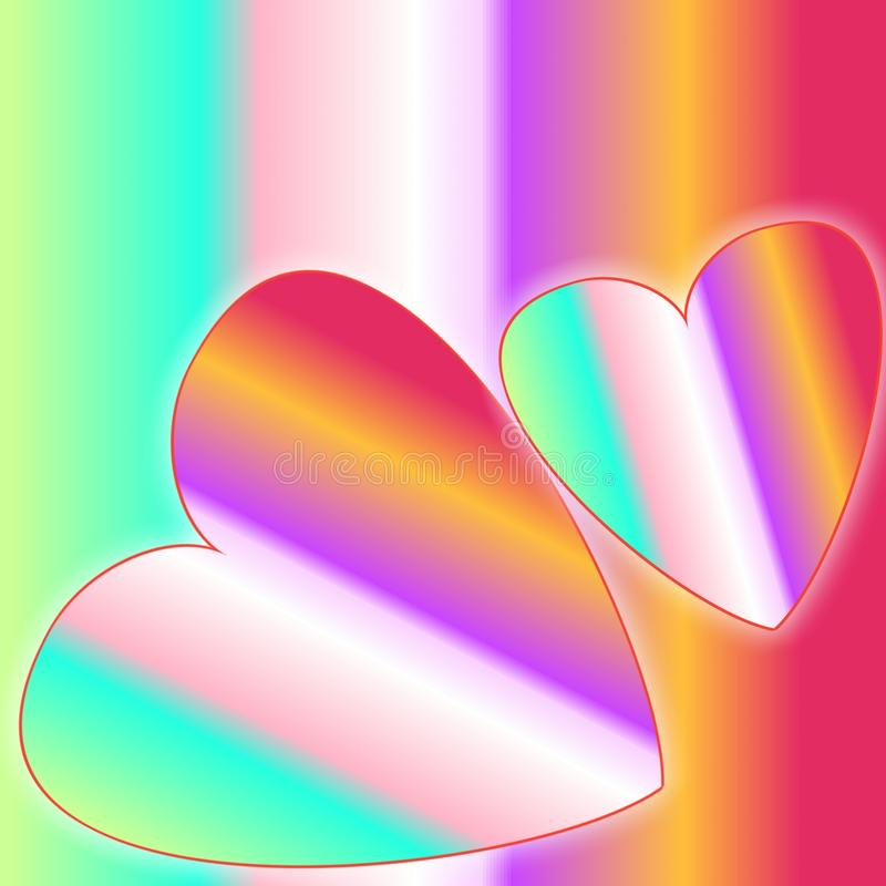 Two hearts with multicolored rainbow color and background. Concepts for Valentine`s Day, wedding, celebrating of love, feelings, vector illustration
