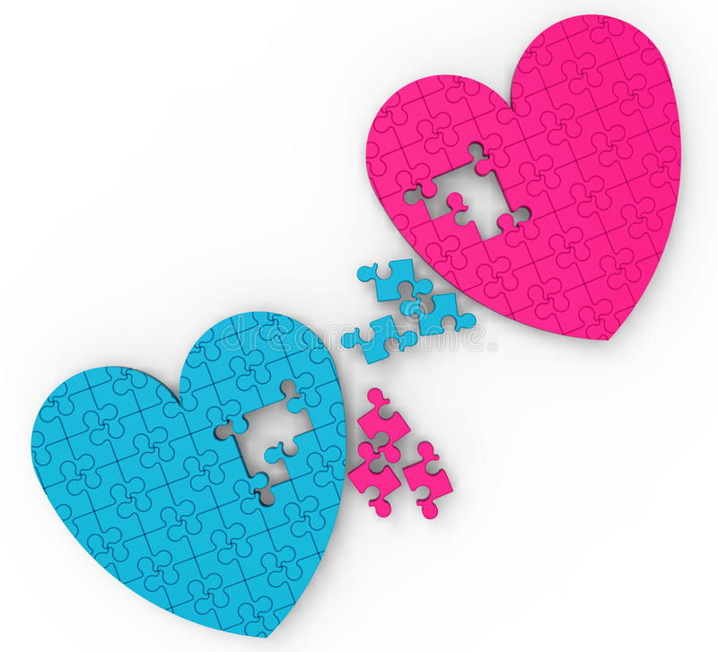Download Two Hearts Puzzle Shows Romance And Commitment Stock Illustration - Image: 28056987