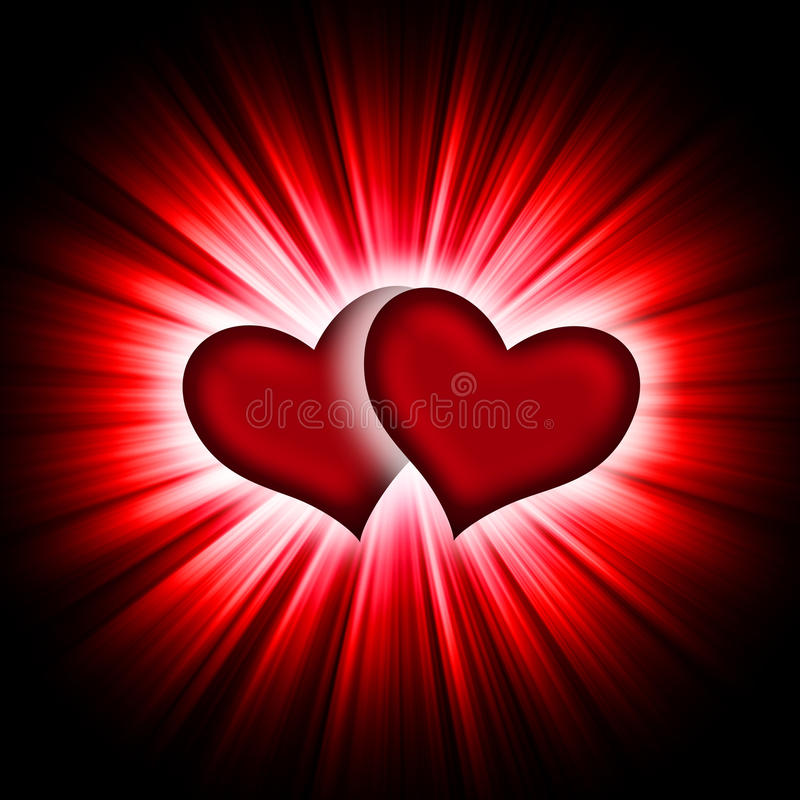 Download Two Hearts With Rays On A Black Royalty Free Stock Photography - Image: 12232107