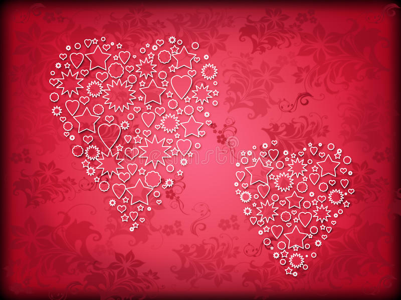 Download Two Hearts On A Red Background Royalty Free Stock Images - Image: 28799929