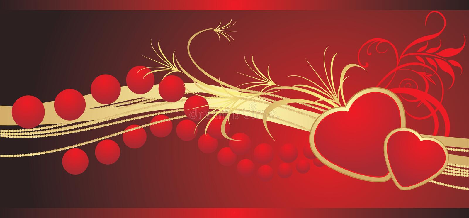 Two hearts with red beads. Banner royalty free illustration