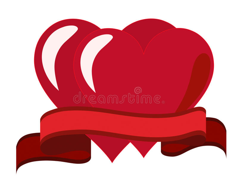 Two hearts and a red ribbon royalty free illustration