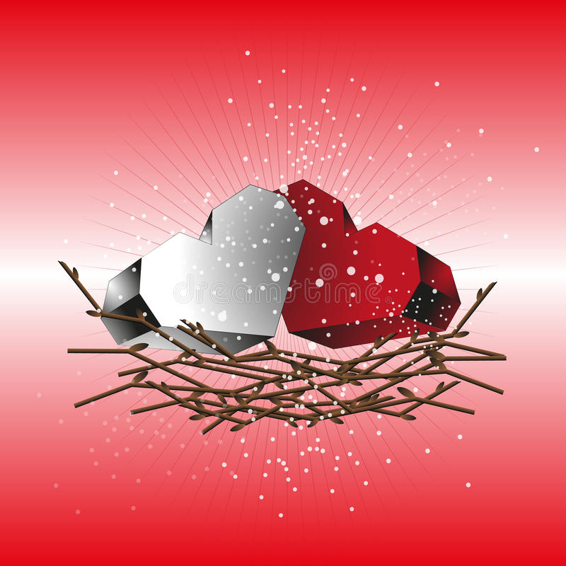 Two hearts red and white in a nest of twigs royalty free illustration