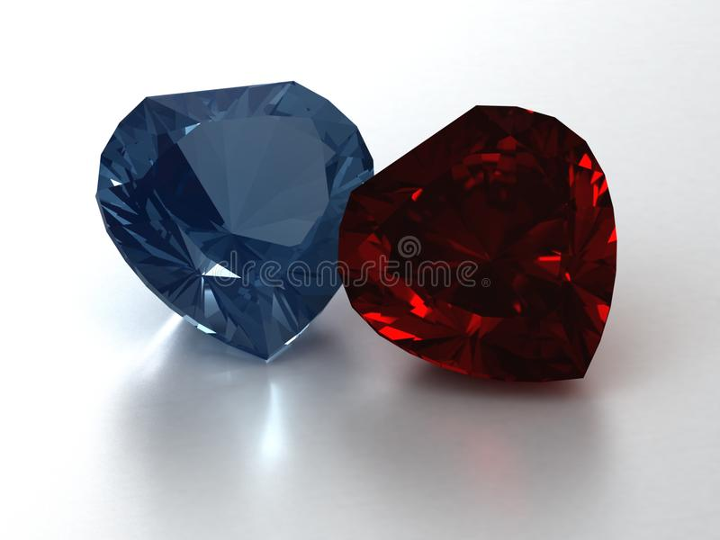 Two hearts of rubi and topaz royalty free stock image