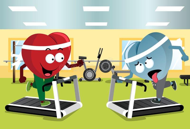Two Hearts Running on Treadmills.  stock illustration