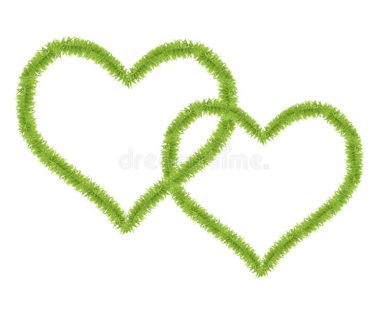 Two hearts shaped from small green grass royalty free stock photography