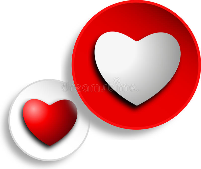 Two hearts side by side royalty free illustration