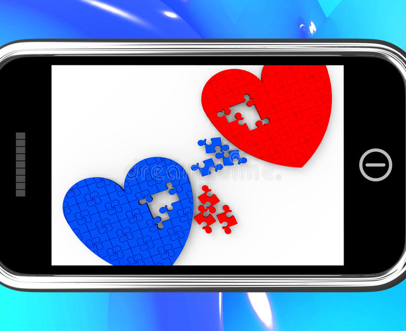 Two Hearts On Smartphone Shows Marriage. And Wedding stock illustration