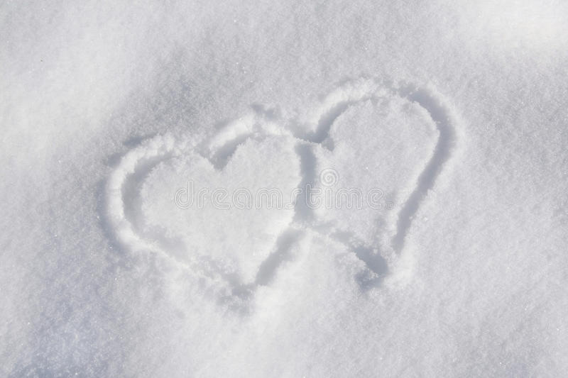 Download Two hearts in the snow stock image. Image of love, heart - 18104001