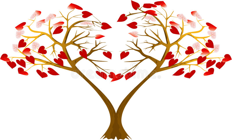 Download Two hearts trees stock vector. Illustration of love, shined - 8026287