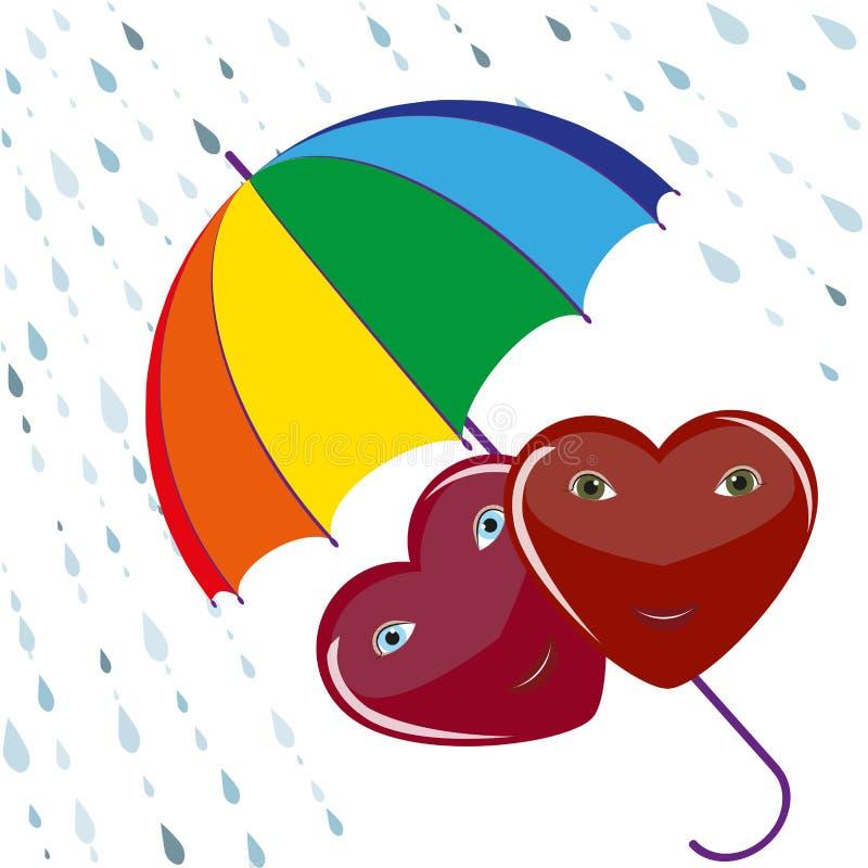 Two hearts under umbrella royalty free illustration