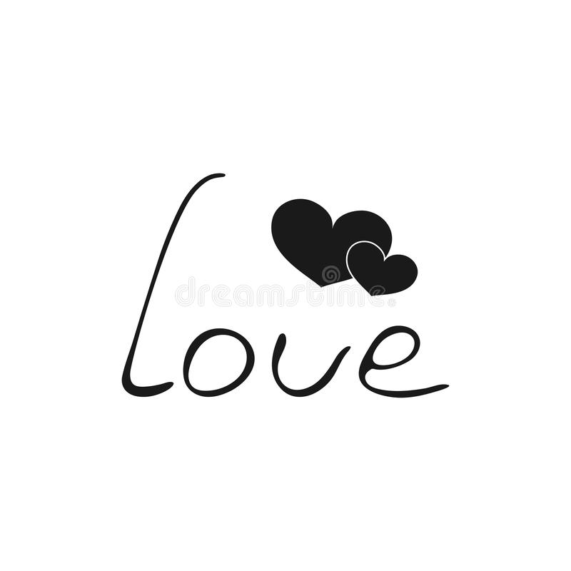 Two hearts vector black and white icon. Lettering love for Valentine`s Day royalty free illustration
