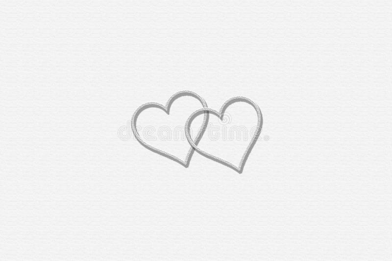Two Hearts with White Background. Can be used for your gift card, presentations & banners royalty free stock photo