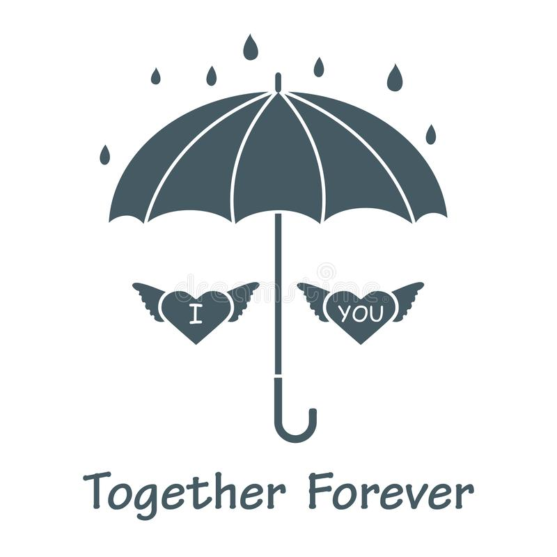 Two hearts with wings under an umbrella in the rain. Design for banner, poster or print. Greeting card Valentine`s Day. Vector. Two hearts with wings under an royalty free illustration