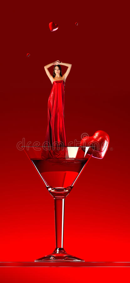 Two hearts and woman in red in martini cocktail royalty free illustration
