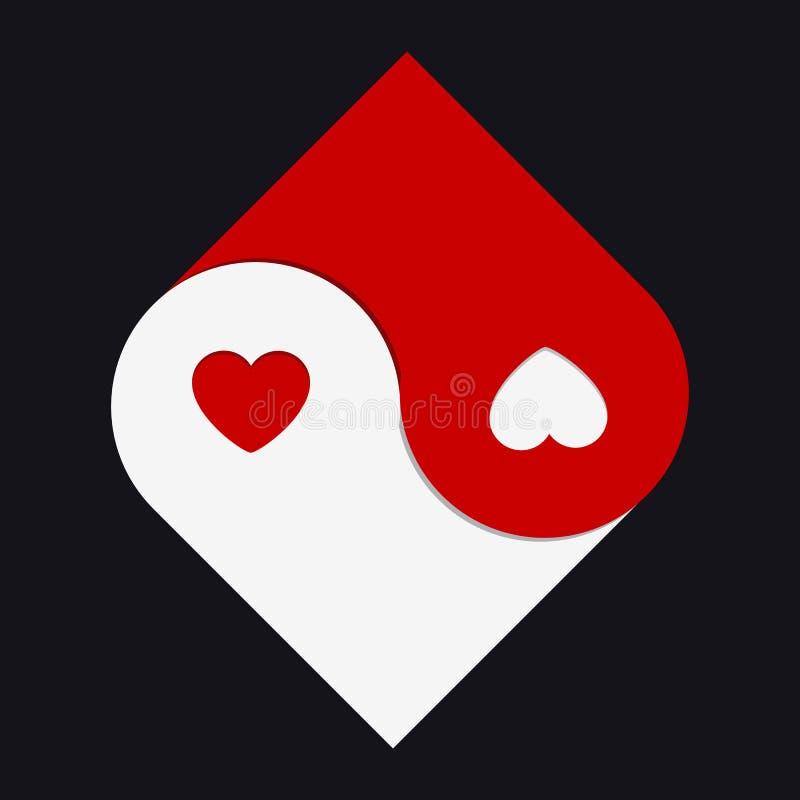Two Hearts Yin and Yang Symbol stock illustration