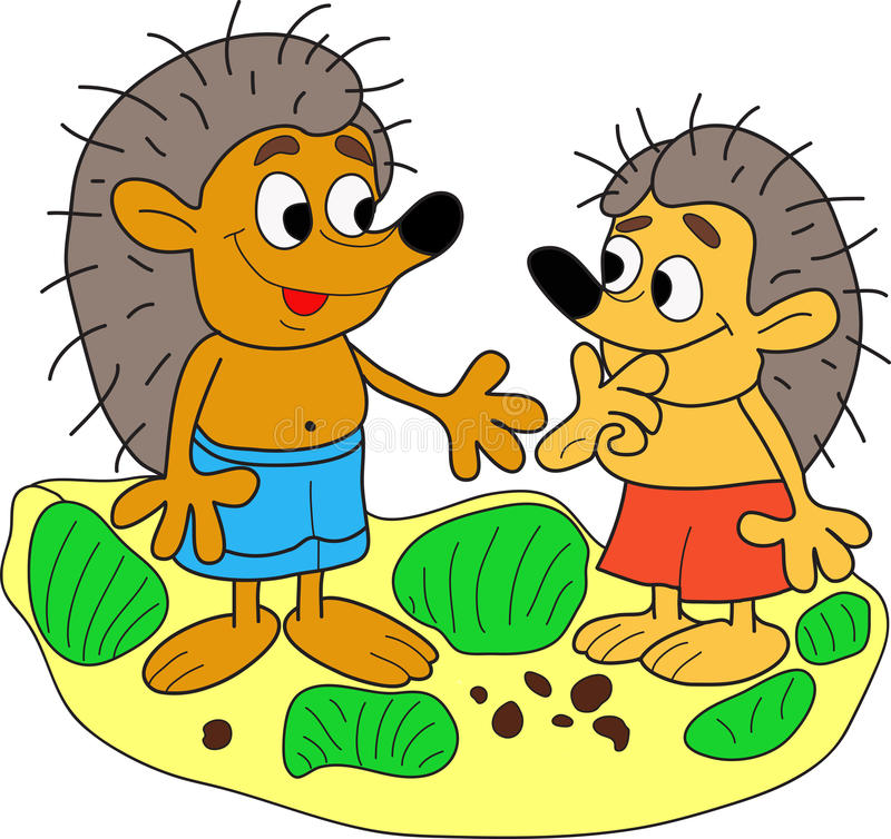 Two hedgehog. Two hedgehog met by chance and were happy to see each other and decided to shake hands royalty free illustration