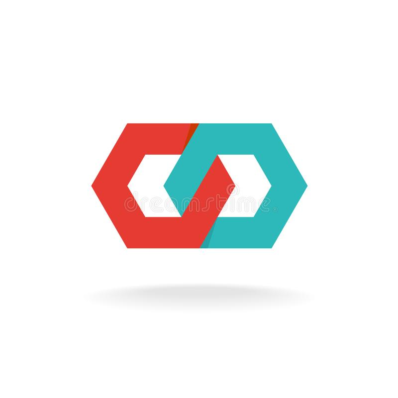 Two hexagonal chain links logo. Tech connection concept. royalty free illustration