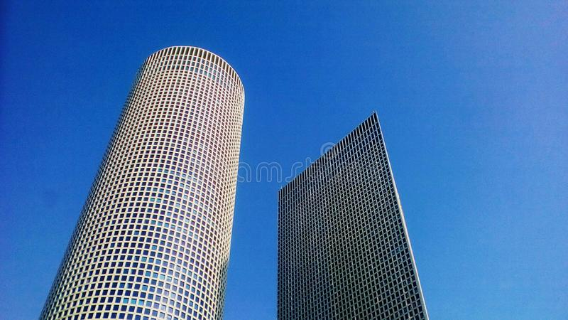 Skyscrapers up to blue sky royalty free stock photo