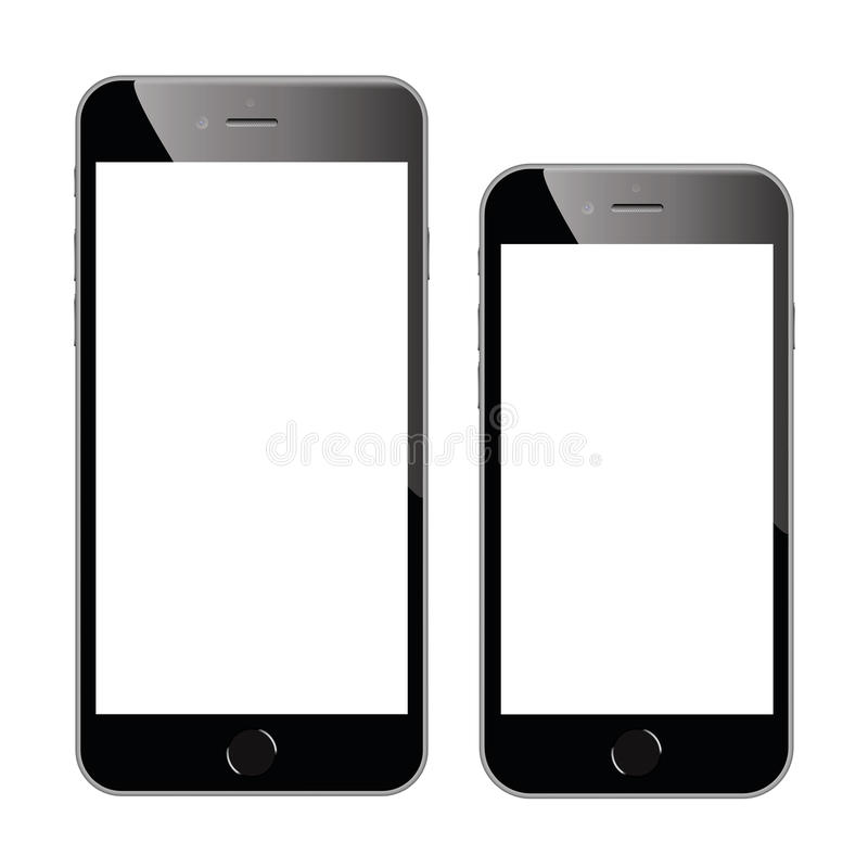 Two high quality black smartphone vector illustrations isolated stock illustration