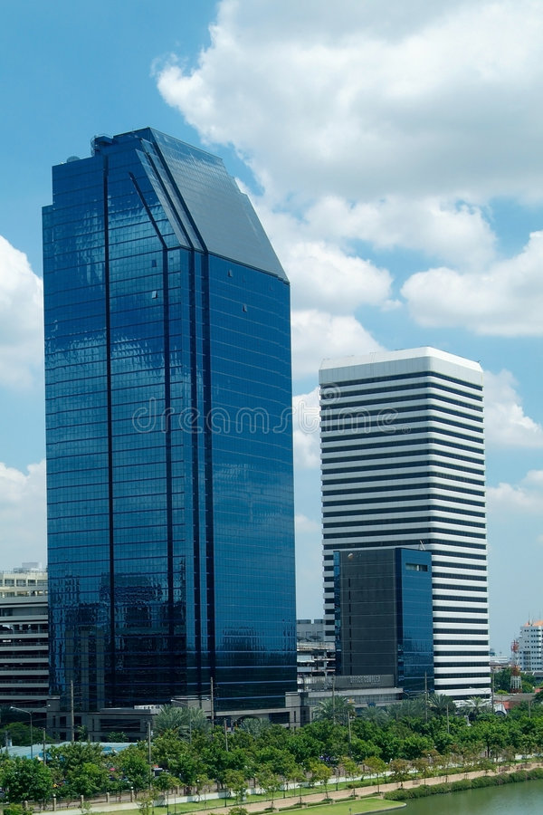 Two high-rise office buildings stock photos