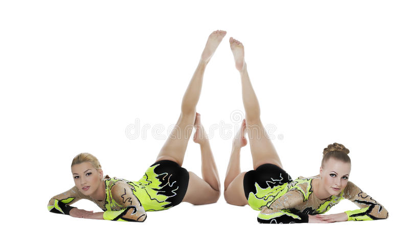 Download Two High Skill Gymnasts Beauty Portrait Isolated Stock Photo - Image: 23021930