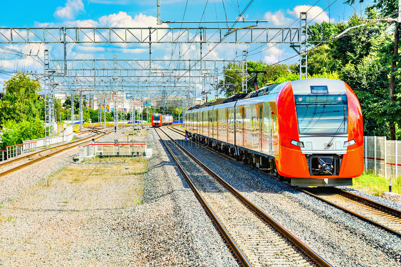 Two highspeed trains. Highspeed trains moves toward at day time royalty free stock photo
