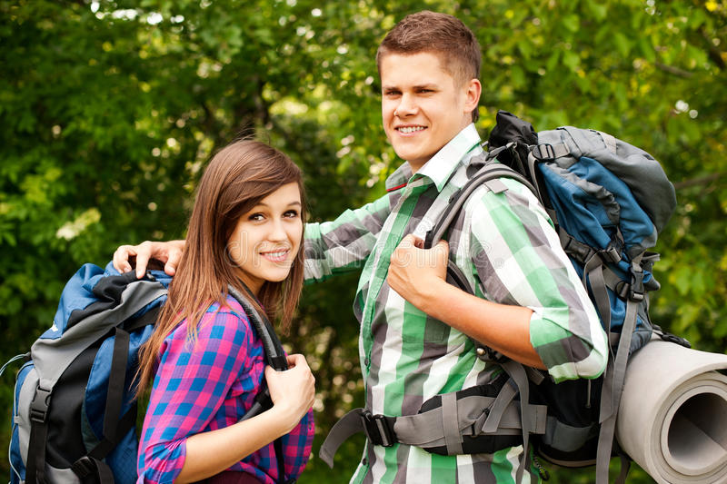 Download Two hikers stock photo. Image of forest, looking, adolescence - 29241016