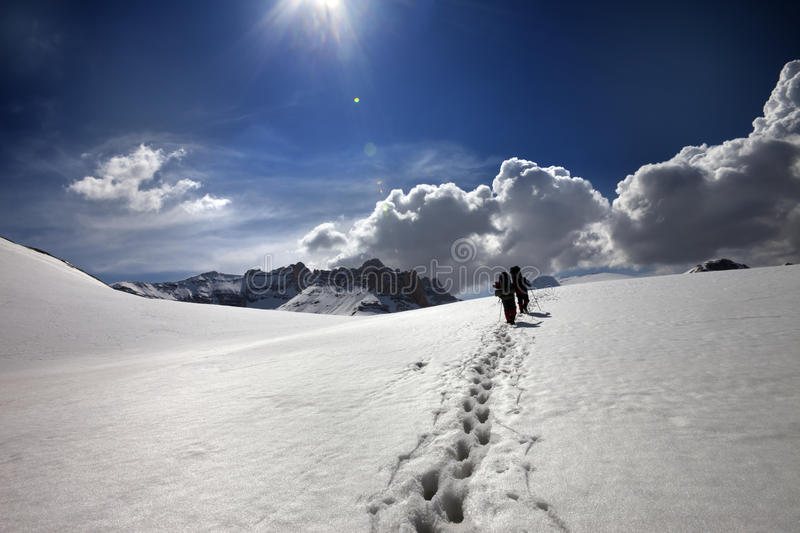 Download Two hikers on snow plateau stock photo. Image of road - 31244760