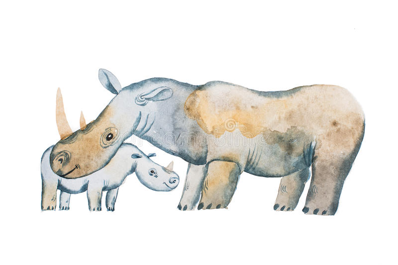 Two hippos drawn with watercolors. Mother s day card idea. Hippopotamus and a baby vector illustration