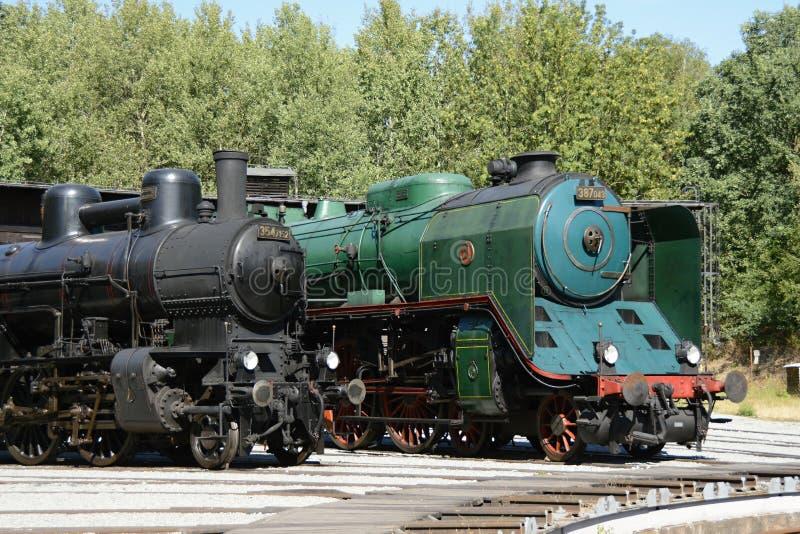 Two Historical Steam Engines in Czech Railways Museum Luzna u Rakovnika, Czech Republic, Europe. Czech Outdoor Railways Museum Luzna u Rakovnika, Czech Republic stock photos