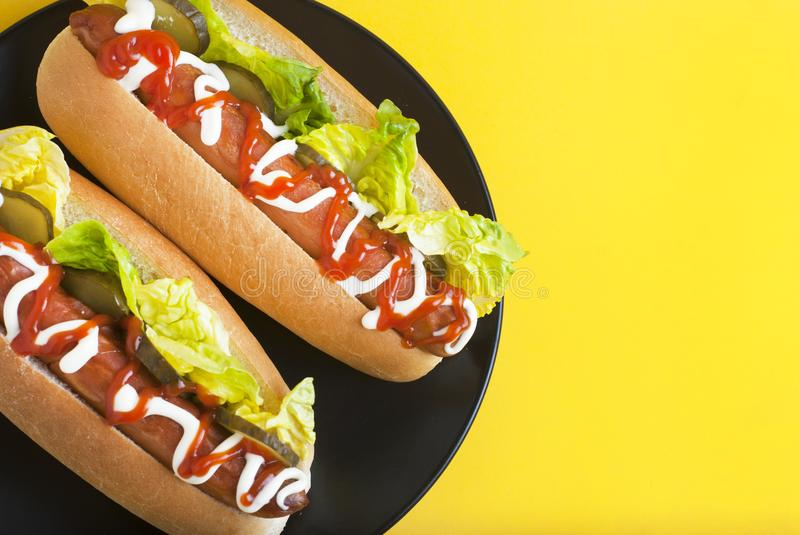 Two homemade Hot Dogs with mayonnaise, ketchup, and green lettuce leaves in black plate over yellow background. Top view. Copy spa royalty free stock photo