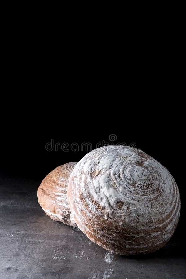 Two Homemade Sourdough breads royalty free stock photo