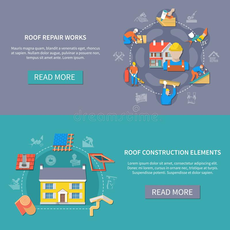 Roofer Banner Set. Two horizontal roofer banner set with roof repair works and construction elements headlines vector illustration royalty free illustration
