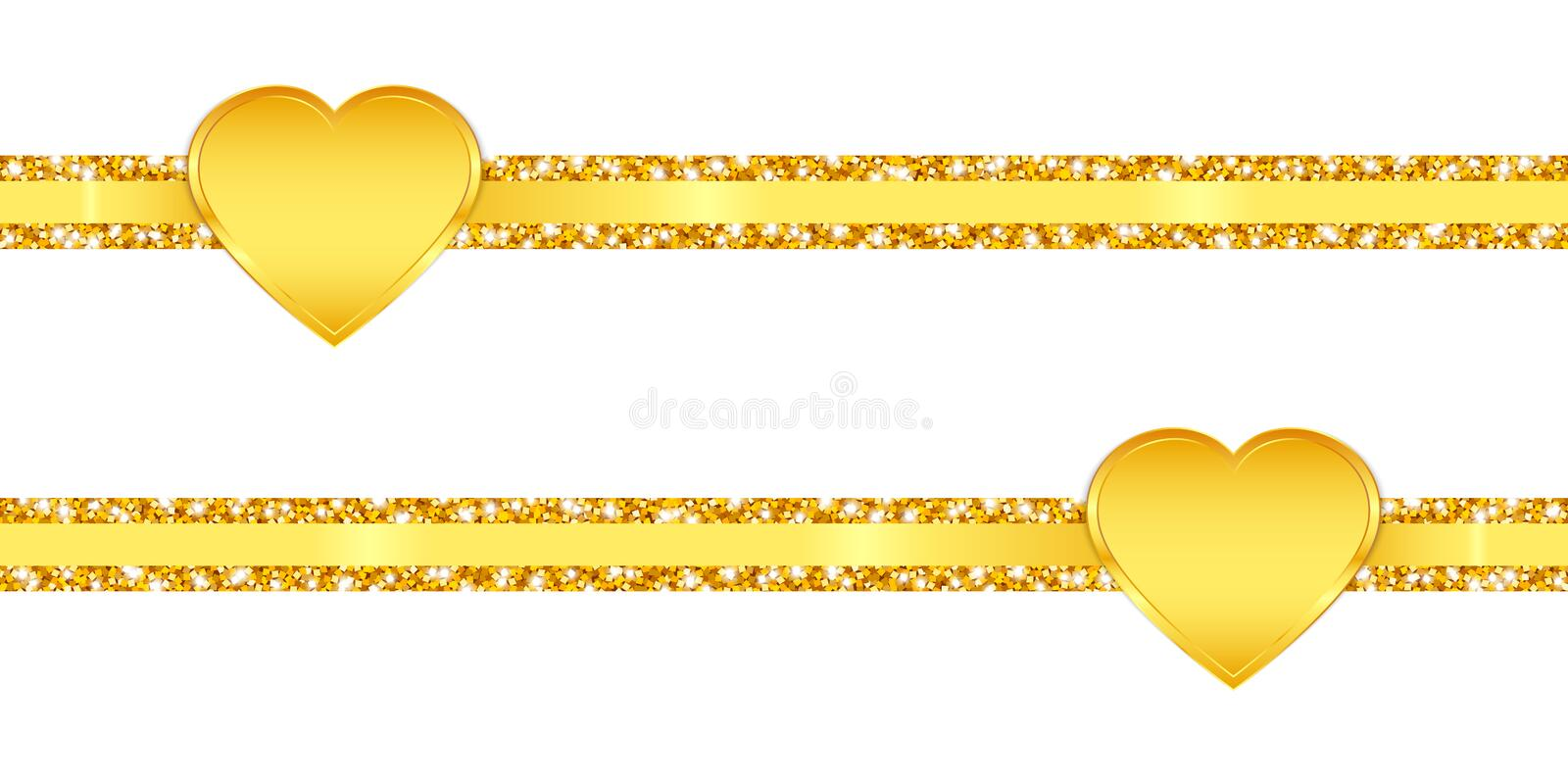 Two Horizontal Slim Glitter Ribbons Golden Shining Hearts stock illustration