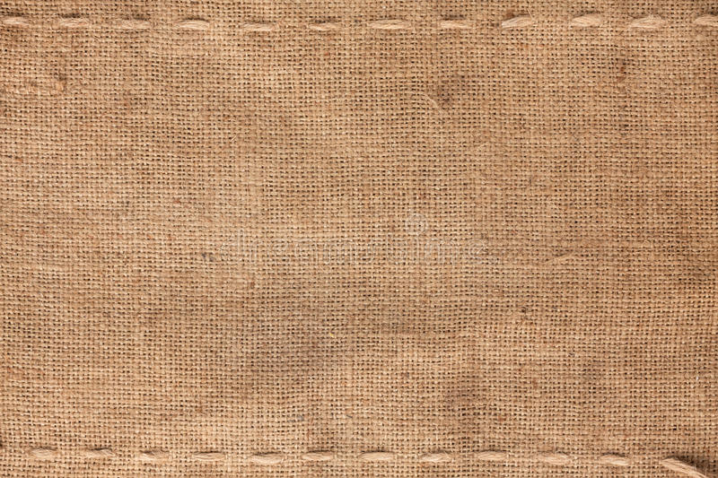 Download The Two Horizontal Stitching On The Burlap Stock Image - Image: 29679199
