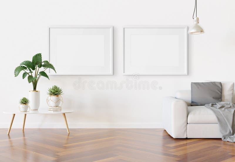 Two horizotnal frames hanging in modern living room Mockup 3D rendering royalty free illustration