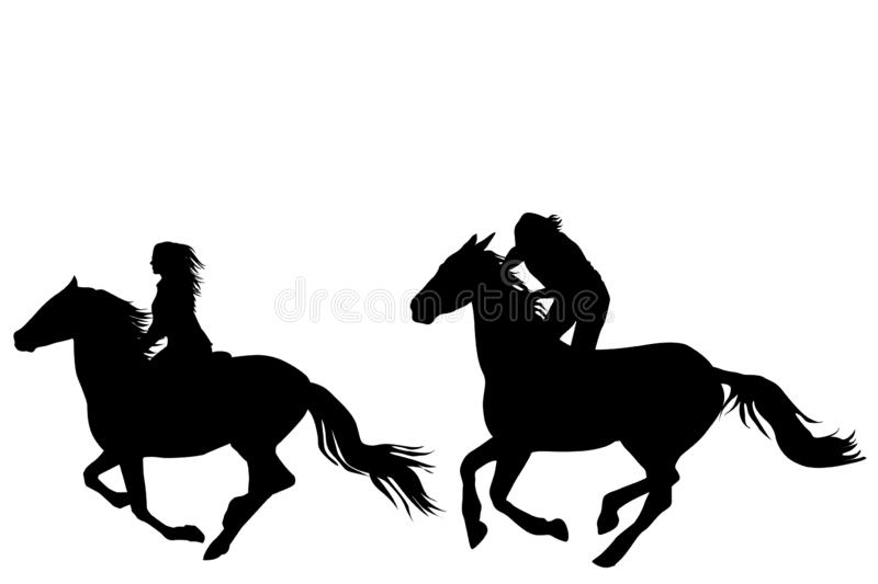 Two horse riders galloping. On white background stock illustration